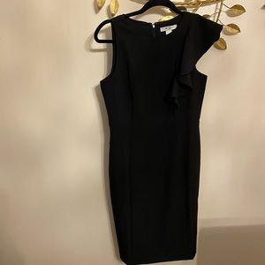 White House BLack Market sheath dress ruffle black